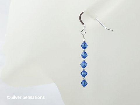 Sapphire Blue Sterling Silver Earrings With Swarovski Crystals
